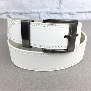Accessories - Women's leather belt white with pewter buckle M